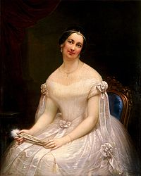 An oil portrait of Tyler's second wife, Julia Gardiner Tyler, by Francesco Anelli