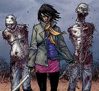 Michonne, as she is first introduced in issue #19 of the comic book series