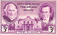 Sam Houston and Stephen F. Austin depicted on a 1936 US postage stamp commemorating 100th anniversary of the Texas Republic