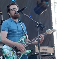 Rivers Cuomo performing with Weezer at the Gathering of the Vibes in Bridgeport, Connecticut in 2015.