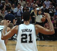 Duncan's 21 jersey was retired months after he stopped playing.