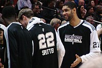 Duncan joking with Tiago Splitter in 2010; he is known for his easy-going and simple personality