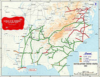 Main railroads of Confederacy, 1861; colors show the different gauges (track width); the top railroad shown in the upper right is the Baltimore and Ohio, which was at all times a Union railroad