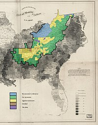 Map of the county secession votes of 1860–1861 in Appalachia within the ARC definition. Virginia and Tennessee show the public votes, while the other states show the vote by county delegates to the conventions.