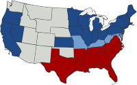 Map of the division of the states in the American Civil War (1861–1865). Blue indicates the northern Union states; light blue represents five Union slave states (border states) that primarily stayed in Union control. Red represents southern seceded states in rebellion, also known as the Confederate States of America. Uncolored areas were U.S. territories, with the exception of the Indian Territory (later Oklahoma).