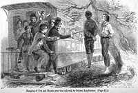 Passers-by abusing the bodies of Union supporters near Knoxville, Tennessee. The two were hanged by Confederate authorities near the railroad tracks so passing train passengers could see them.