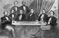 Davis's cabinet in 1861, Montgomery, Alabama Front row, left to right: Judah P. Benjamin, Stephen Mallory, Alexander H. Stephens, Jefferson Davis, John Henninger Reagan, and Robert Toombs Back row, standing left to right: Christopher Memminger and LeRoy Pope Walker Illustration printed in Harper's Weekly