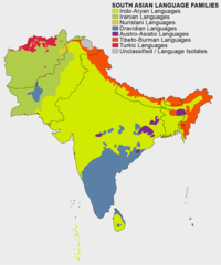 Language families in South Asia