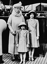 Queen Mary with her granddaughters, Princesses Margaret (front) and Elizabeth, May 1939