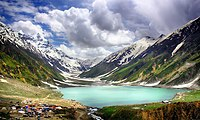 Lake Saiful Muluk, located at the northern end of the Kaghan Valley, near the town of Naran in the Saiful Muluk National Park.