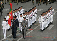 Portuguese tri-service color guard, leading a Fuzileiros detachment, showing the service dress uniforms worn by the three branches