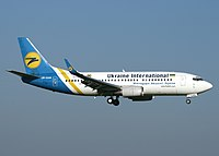A former Ukraine International Airlines Boeing 737-300 which has been retired in 2019