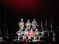 Mars and The Hooligans during the 24K Magic World Tour in Bogotá, Colombia in 2017.