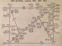 ARPANET network map from 1973 listing Case as an Interface Message Processor (IMP) node.
