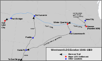 Map showing the westward exodus of the LDS Church between 1846 and 1869. Also shown are a portion of the route followed by the Mormon Battalion and the path followed by the handcart companies to the Mormon Trail.