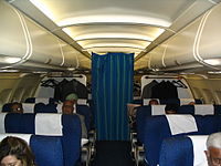 Executive class cabin of an Indian Airlines Airbus A320