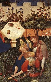 Detail from Paradiesgärtlein (Little Garden of Paradise), by an unknown artist active c.1410–20, possibly in Strasbourg. Jennifer Lawrence has said the film's setting sometimes resembles the Garden of Eden, which this work depicts.