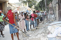 The UN Development Programme employed hundreds of Haitians to clear roads and to make fuel pellets in a cash-for-work scheme