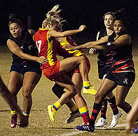Action from a women's match on the Gold Coast between Bond University and Burleigh Heads