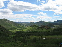 The Khentii Mountains in Terelj, close to the birthplace of Genghis Khan.