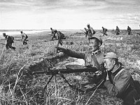 Mongolian troops fight against the Japanese counterattack at Khalkhin Gol, 1939