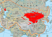 This map shows the boundary of the 13th-century Mongol Empire compared to today's Mongols. The red area shows where the majority of Mongolian speakers reside today.
