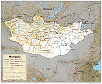 The southern portion of Mongolia is taken up by the Gobi Desert, while the northern and western portions are mountainous.