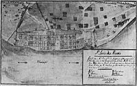 A map of St. Louis, Illinois in 1780. From the archives in Seville, Spain