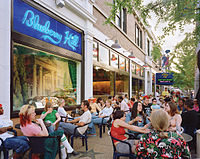 The Delmar Loop is a neighborhood close to Washington University, on the border of the city and St. Louis County
