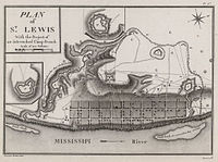 A map depicting the town of St. Louis in the 1790s, then part of Spanish Louisiana
