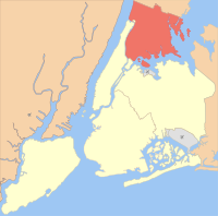 Location of the Bronx (red) within New York City (remainder white)