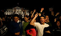 Americans celebrating after the death of Osama bin Laden in front of The White House