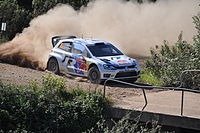 Andreas Mikkelsen driving a VW Polo R WRC during the 2013 Rally de Portugal