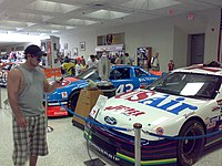 A Jasper Motorsports Ford Thunderbird on display at the Indianapolis Motor Speedway Museum.