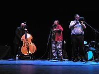 Zorn with Gavin Bryars and George Lewis at the Barbican Tribute to Derek Bailey, 2006.