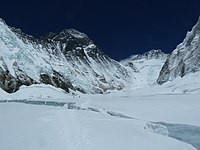 """The Western Cwm (""""Coom""""), with Everest on the left and Lhotse to the right"""