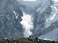 Small avalanche on Everest, 2006