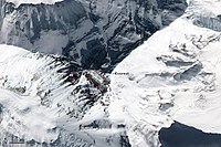 Top down view showing the location of the summit, and its three main faces/sides
