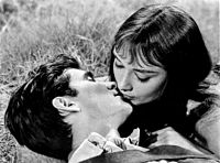 Hepburn with co-star Anthony Perkins in the film Green Mansions (1959)