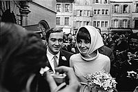 Hepburn and second husband Andrea Dotti at their 1969 wedding.
