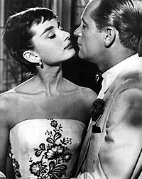 Hepburn with co-star William Holden in the film Sabrina (1954)