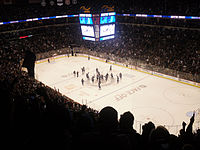 The Winnipeg Jets celebrate their first regulation win in Winnipeg at the MTS Centre on 17 October 2011