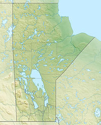 Relief map of Manitoba