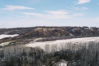 First Nations would stampede American bison over these cliffs, near Cartwright, Manitoba.