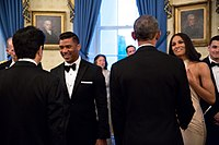 Ciara and her now-husband, Russell Wilson, meet Barack Obama and Shinzō Abe at the White House in 2015.