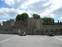 The cobbled surface of Tower Hill to the north of the Tower of London. Over a period of 400 years, 112 people were executed on the hill.