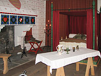 A recreation of Edward I's bedchamber in the river-side St Thomas's Tower above Traitors' Gate.