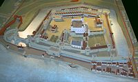 A model of the Tower of London as it appeared after the final period of expansion under Edward I