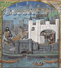 One of the powerful French magnates held in the Tower during the Hundred Years' War was Charles, Duke of Orléans, the nephew of the King of France. This late 15th-century image is the earliest surviving non-schematic picture of the Tower of London. It shows the White Tower and the water-gate, with Old London Bridge in the background.