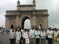 Farmers engaged in an awareness campaign at the gateway